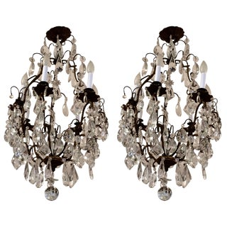 Matching Pair of Glitzy French Gilt Metal and Cut Glass Chandeliers For Sale