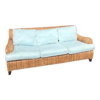 Vintage Cushioned Rattan Palecek Sofa For Sale