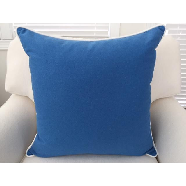 """Paradise Collection Blue Pillow Cover . With Zipper . White Contrast Welt . 22"""" X 22"""" - Image 2 of 8"""