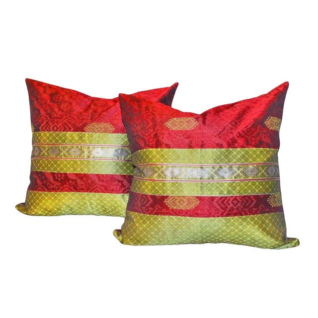 Red & Gold Handwoven, Bohemian Style, Thanksgiving Ikat Pillow Cover - Pair - Image 4 of 4