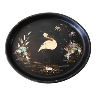Mid Century Oval Metal Tray With Mother of Pearl and Painted Egret For Sale