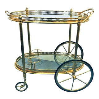 1940s Maison Bagués Style French Neoclassical Cast Brass Bar Cart With Removable Top Tray For Sale