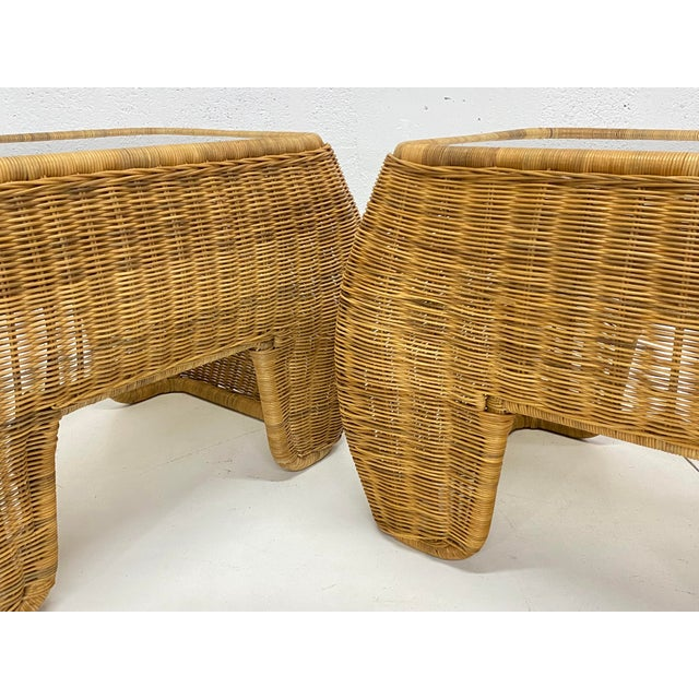 Tan Mid-Century Modern Hand Made Sculptural Wicker Rattan Side Tables - a Pair For Sale - Image 8 of 13