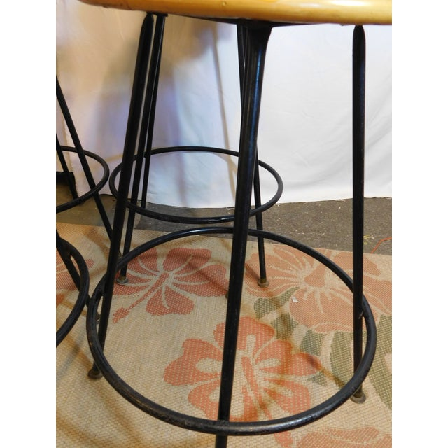 Mid-Century Wicker Bar Stools - Set of 4 - Image 5 of 8