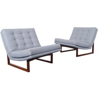 Vintage Tufted Walnut Lounge Chairs by Milo Baughman For Sale