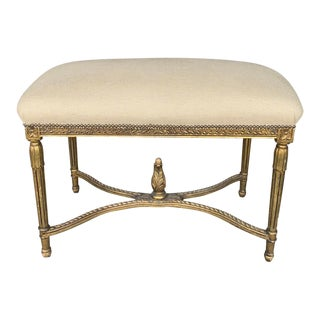 Antique French Louis Carved Upholstered Bench For Sale