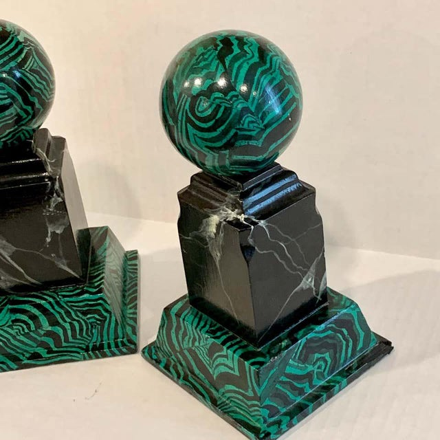 Bob Christian 1987 Faux Malcihite Orbs - a Pair For Sale - Image 10 of 13