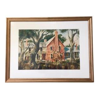 Vintage Farmhouse Watercolor Painting For Sale
