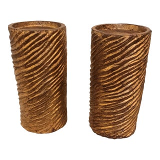 Swirled Texture Candle Holders - a Pair For Sale