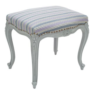 French Louis XV Manner Carved Wood Footstool with Milton Textiles For Sale