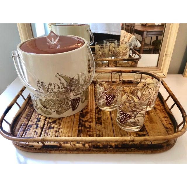 Tan Acrylic Seashell Ice Bucket & Matching Glasses - Set of 4 For Sale - Image 8 of 13