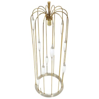 Large Waterfall Brass Floor Lamp Light Fixture For Sale