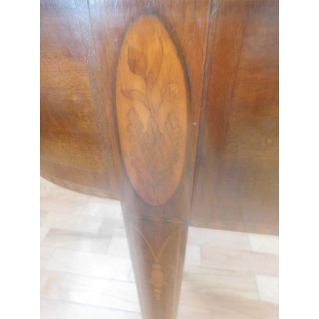 Brown Antique Demi-Lune Mahogany Marquetry Extension Dining Table For Sale - Image 8 of 11