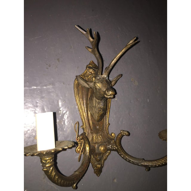 Vintage Brass Deer Head Wall Sconces - A Pair - Image 6 of 8