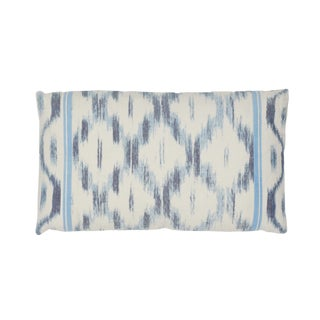 Contemporary Schumacher Santa Monica Ikat Lumbar Pillow in Indigo For Sale