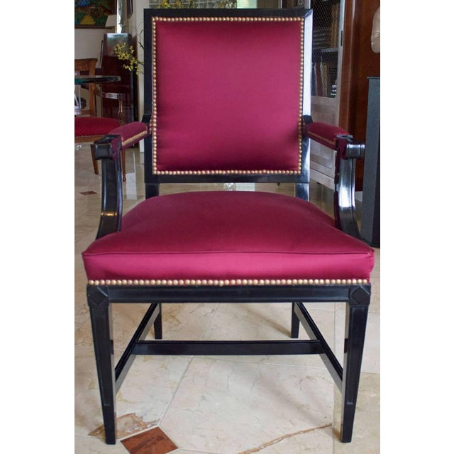 French 1930s Vintage Jansen Louis XVI Style Black Lacquered Armchair For Sale - Image 3 of 7