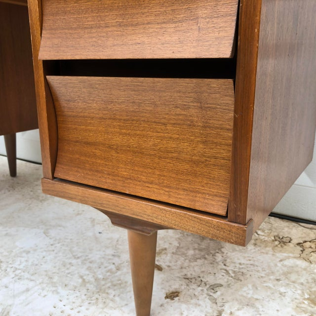 Brown Mid-Century Modern Curved Front Writing Desk For Sale - Image 8 of 13