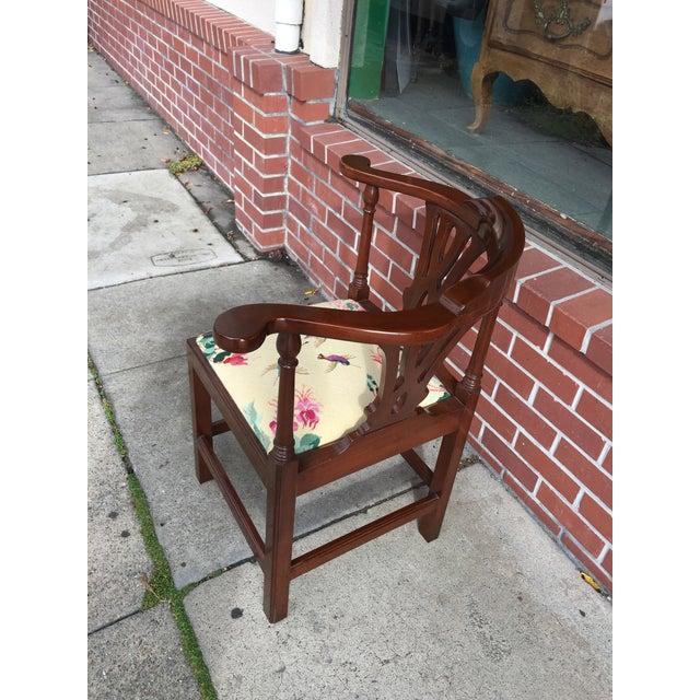 Georgian Style Needlepoint Upholstery Mahogany Corner Chair - Image 6 of 9