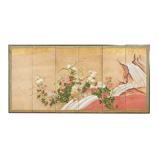 Japanese Six Panel Meiji Screen Chrysanthemums and Waterfall For Sale