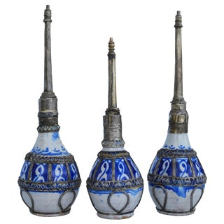 Moroccan Ceramic Perfume Bottles, S/3 For Sale