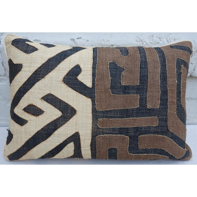 Wheat, Brown & Black African Cloth Kuba Pillow - Image 2 of 4
