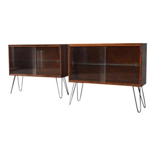 Mid Century Modern Glass Cabinet / Bookcase Set Hairpin Legs, a Pair For Sale