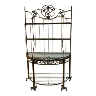 1960s Gilt Metal & Glass Garden Shelving Unit For Sale