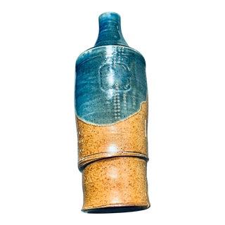 Mid Century Modern Brutalist Sgraffito Art Pottery Vase For Sale