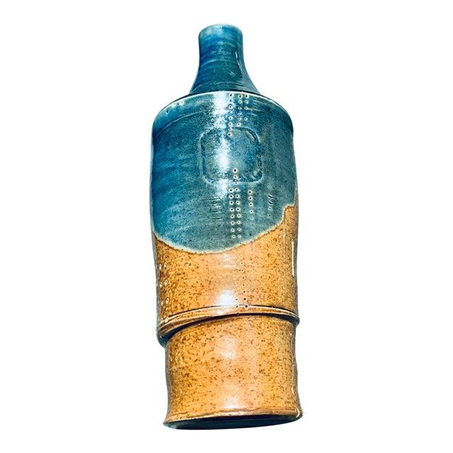 Mid Century PostModern Brutalist Sgraffito Art Pottery Vase For Sale