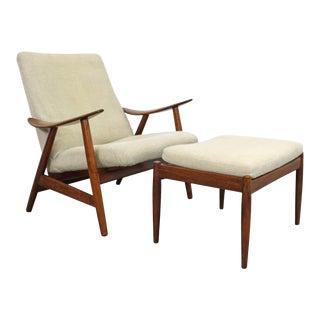 Mid-Century Danish Modern Teak Lounge Chair & Ottoman For Sale