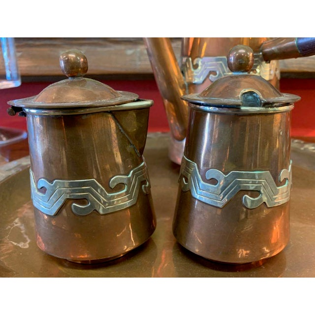 Artisanias Mexico Copper & Silver Coffee Set of 4 For Sale - Image 11 of 13