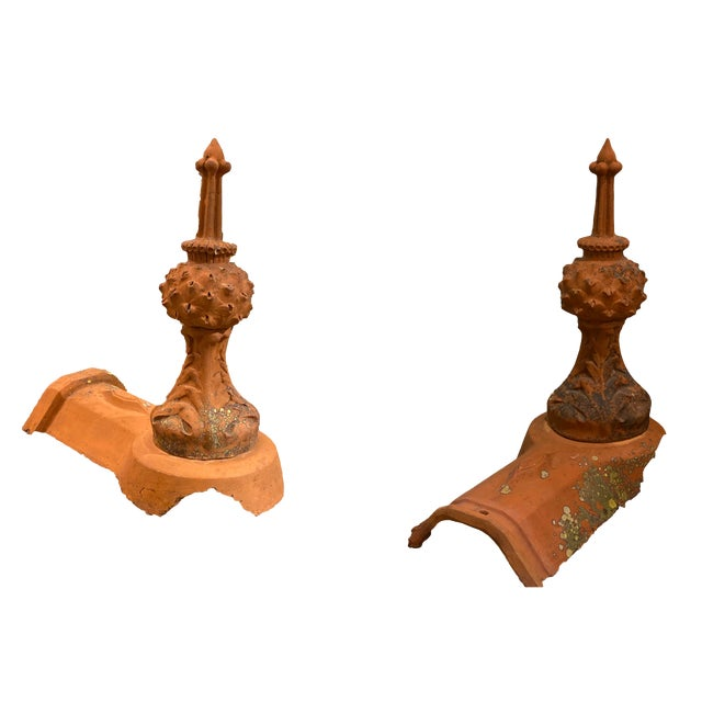French Terra Cotta Roof Finials - a Pair For Sale