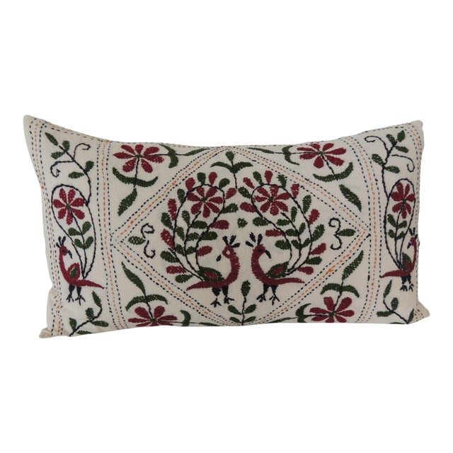 Vintage Indian Colorful Floral Embroidered Decorative Bolster Pillow For Sale