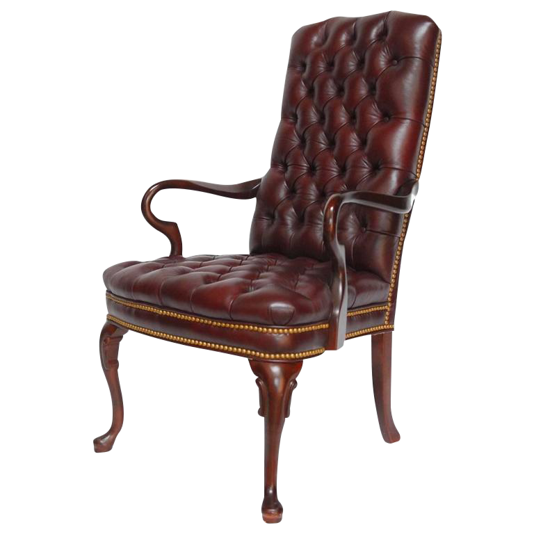 Schafer Brothers Cordovan Tufted Leather Library Chair