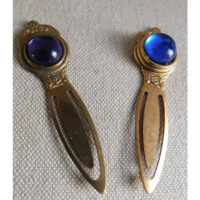 Brass Vintage Royal Jewel Tone Bookmarks - a Pair For Sale - Image 7 of 9