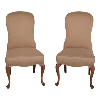 Jessica Charles Cherry Queen Anne Striped Upholstered Chairs - A Pair