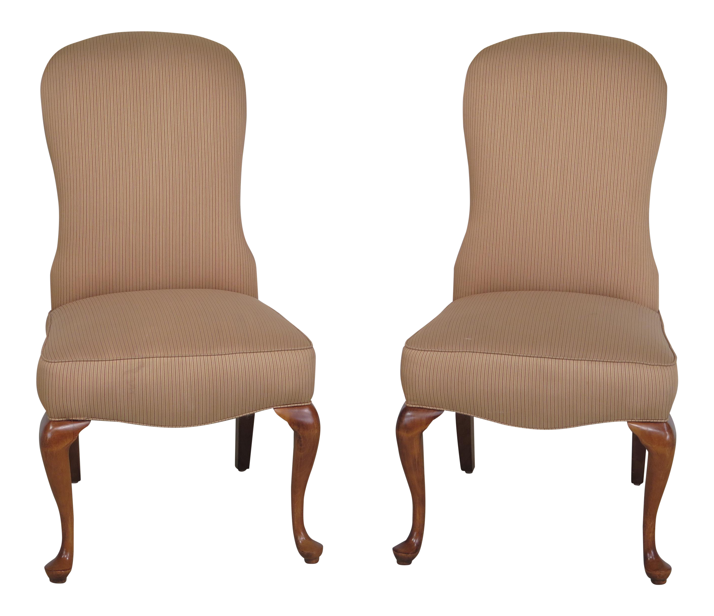 Jessica Charles Cherry Queen Anne Striped Upholstered Chairs   A Pair