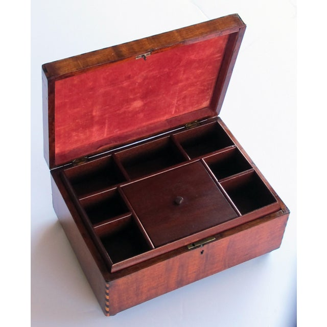 perfect for jewelry or men's accessories this rectangular box with intricate 'tumbling block' inlay on the lid; with...