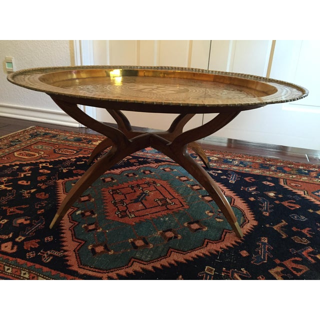 MCM Oriental Brass Tray Table - Image 2 of 10