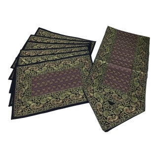 Indian Style Silk Placemats and Table Runner - Set of 7 For Sale