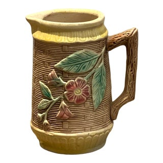 19th Century English Majolica Pitcher With Pink Flowers For Sale
