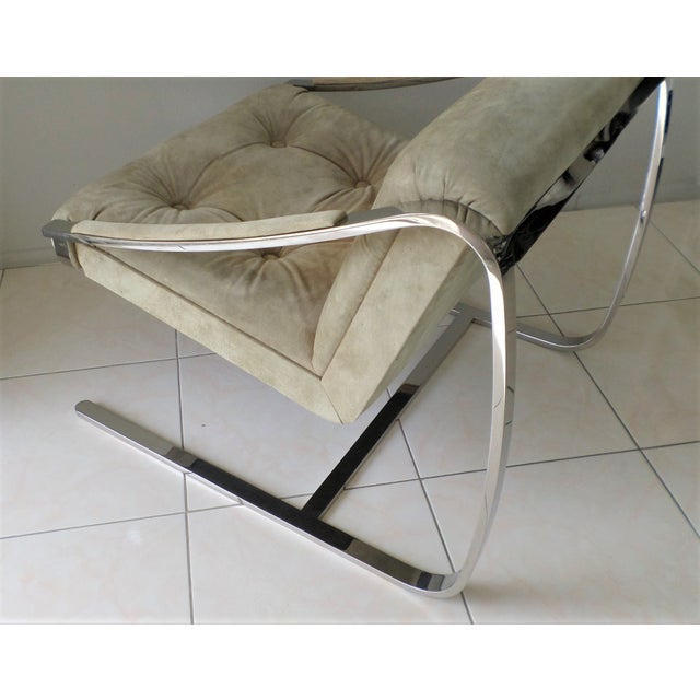 """Brueton Cantilever """"Plaza"""" Chair in Polished Stainless Steel and Suede For Sale In Palm Springs - Image 6 of 8"""