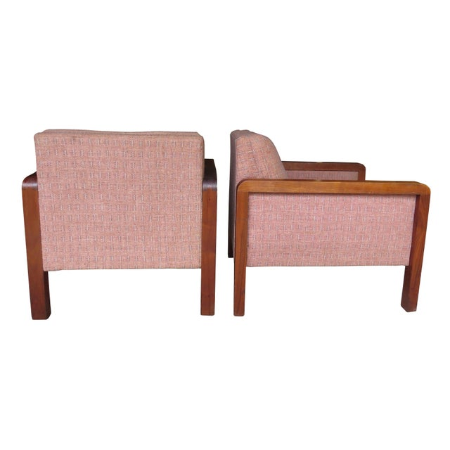 Fabric Vintage 1970s W. H. Gunlocke Chair Co. Lounge Armchairs - a Pair For Sale - Image 7 of 13