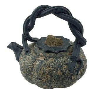 1990s Vintage Yixing Pumpkin Shaped Teapot Pan Xiaozhong For Sale