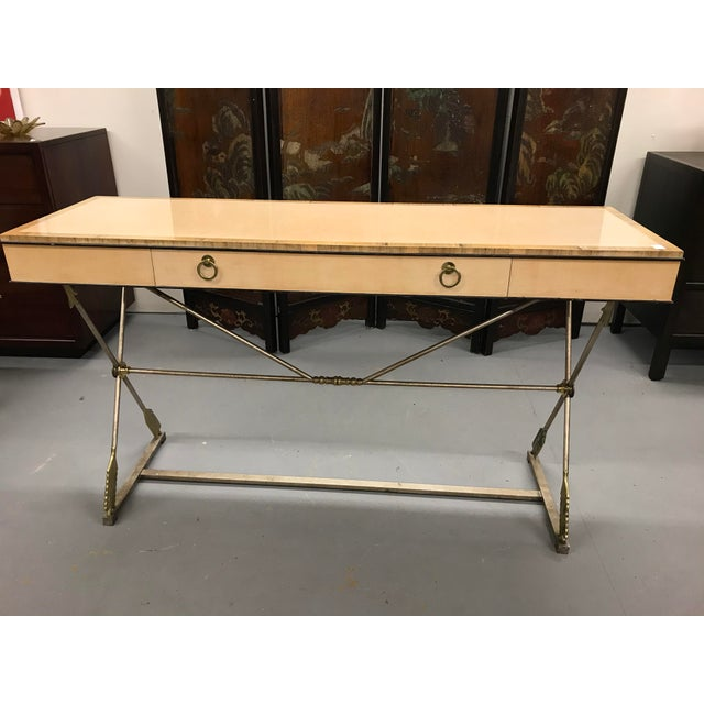 Ivory Vintage Neo-Classical Style Console Table For Sale - Image 8 of 8