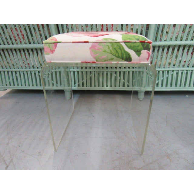 Upholstered Lucite Bench Stool - Image 2 of 5
