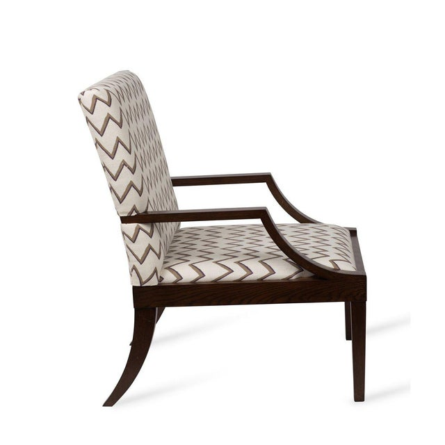 Transitional The Lounge Lizard Chair in Zig Zag Taupe Violet For Sale - Image 3 of 5