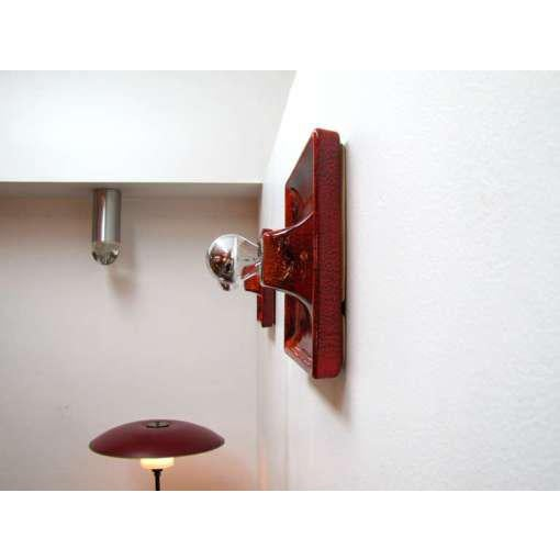Red Ceramic Wall Sconces - A Pair For Sale In Los Angeles - Image 6 of 9