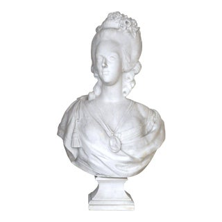 Large 18th Century French White Marble Bust of Marie Antoinette After F. Lecomte For Sale