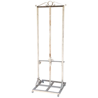 Vintage French Metal Easel on Casters For Sale